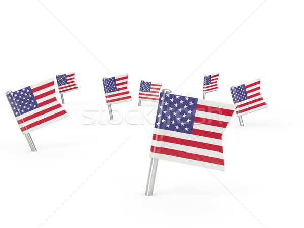 Square pins with flag of united states of america Stock photo © MikhailMishchenko