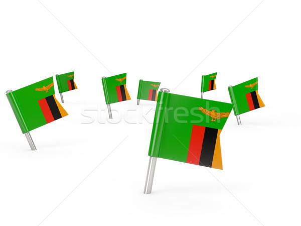 Kare bayrak Zambiya yalıtılmış beyaz ülke Stok fotoğraf © MikhailMishchenko