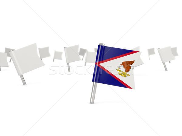 Praça pin bandeira Samoa Americana isolado branco Foto stock © MikhailMishchenko
