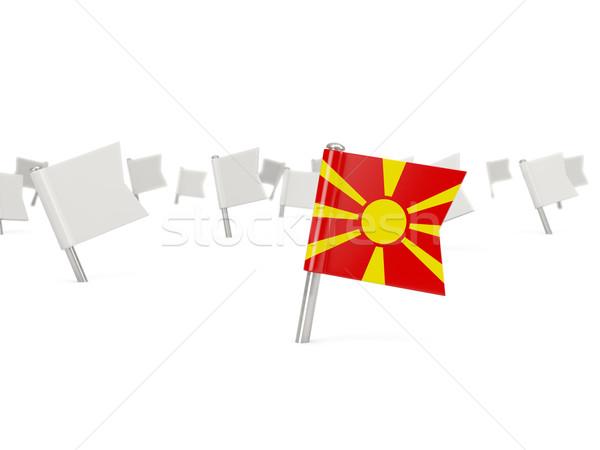 квадратный Pin флаг Македонии изолированный белый Сток-фото © MikhailMishchenko