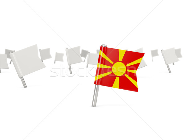 Cuadrados pin bandera Macedonia aislado blanco Foto stock © MikhailMishchenko