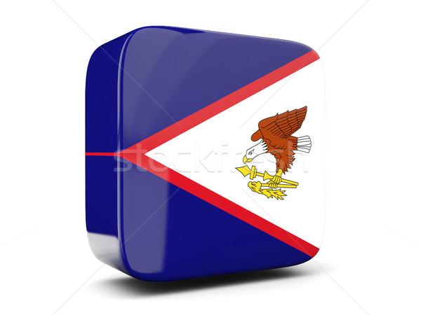 Praça ícone bandeira Samoa Americana ilustração 3d isolado Foto stock © MikhailMishchenko