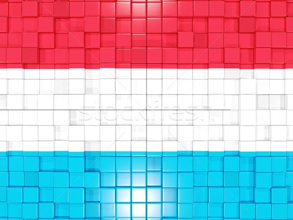 Vierkante onderdelen vlag Luxemburg 3D mozaiek Stockfoto © MikhailMishchenko