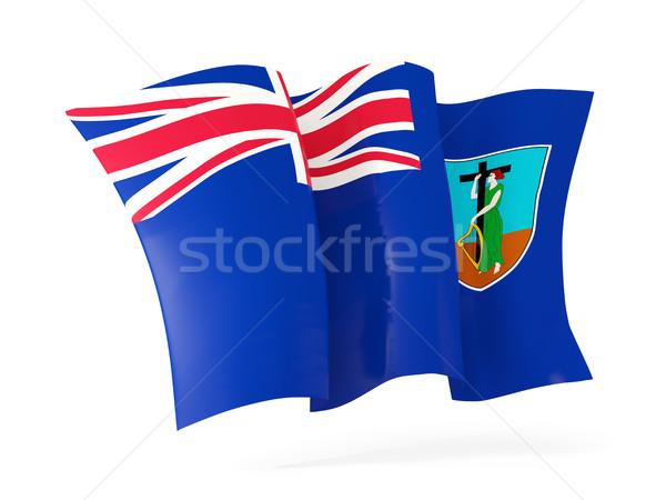 Waving flag of montserrat. 3D illustration Stock photo © MikhailMishchenko
