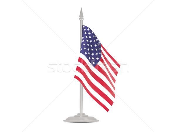 Banderą Stany Zjednoczone Ameryki maszt 3d odizolowany Zdjęcia stock © MikhailMishchenko