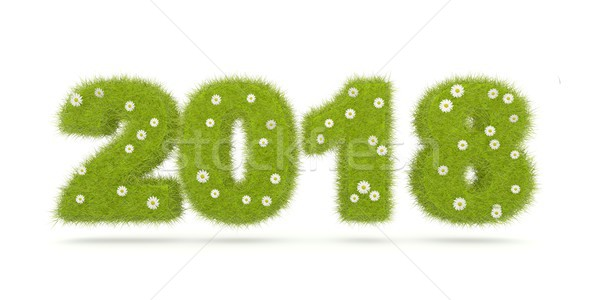 Green 2018 New Year sign isolated on white Stock photo © MikhailMishchenko