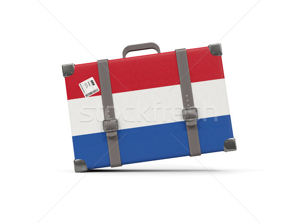 Bagagem bandeira Holanda mala isolado branco Foto stock © MikhailMishchenko