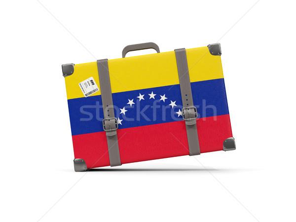 Csomagok zászló Venezuela bőrönd izolált fehér Stock fotó © MikhailMishchenko