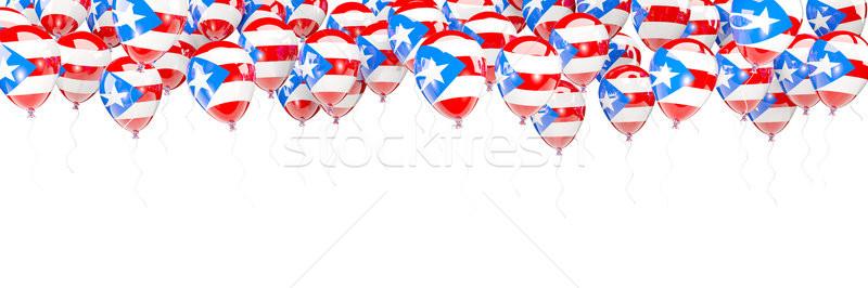 Ballonnen frame vlag Puerto Rico geïsoleerd witte Stockfoto © MikhailMishchenko