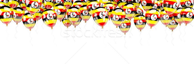 Léggömbök keret zászló Uganda izolált fehér Stock fotó © MikhailMishchenko