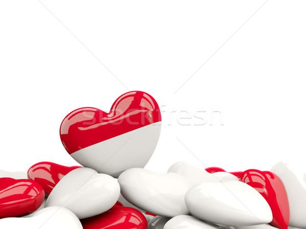 Stok fotoğraf: Kalp · bayrak · Endonezya · üst · kalpler · yalıtılmış