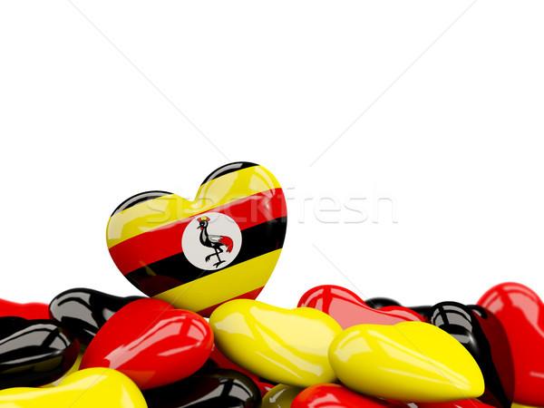 Coeur pavillon Ouganda haut coeurs isolé Photo stock © MikhailMishchenko