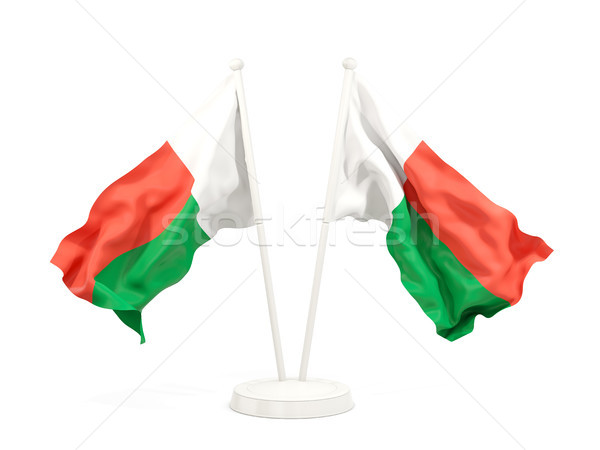 Two waving flags of madagascar Stock photo © MikhailMishchenko