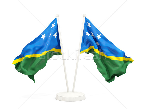 Two waving flags of solomon islands Stock photo © MikhailMishchenko