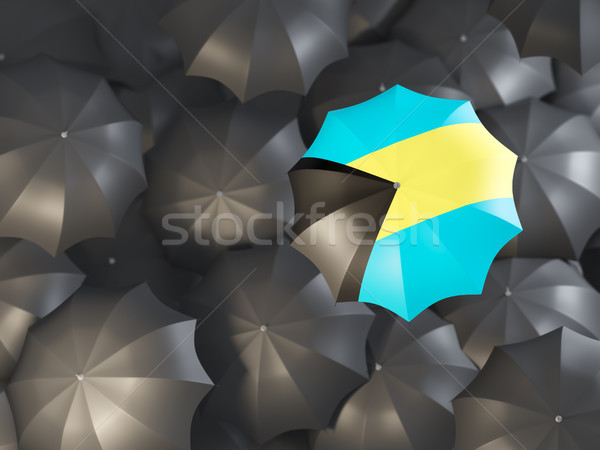 Esernyő zászló Bahamák felső fekete esernyők Stock fotó © MikhailMishchenko