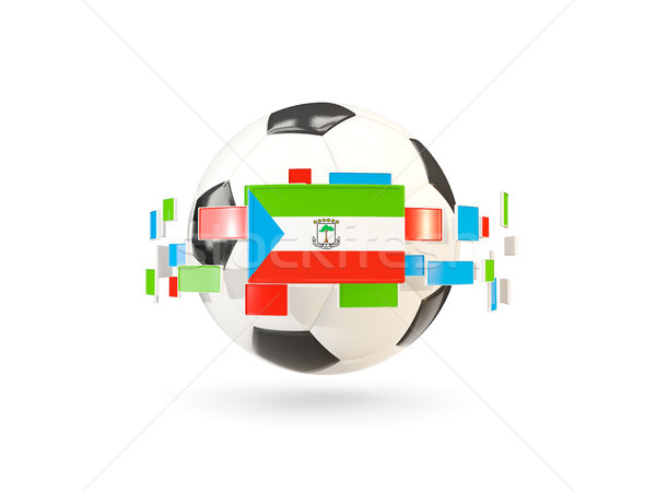 Soccer ball with line of flags. Flag of equatorial guinea Stock photo © MikhailMishchenko