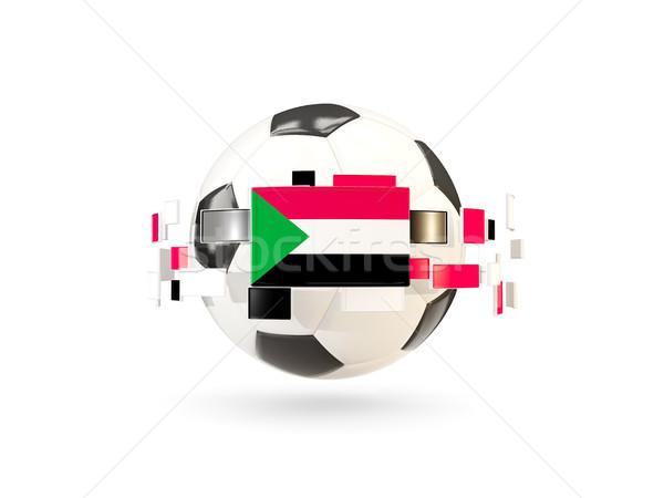 Futballabda vonal zászlók zászló Szudán lebeg Stock fotó © MikhailMishchenko