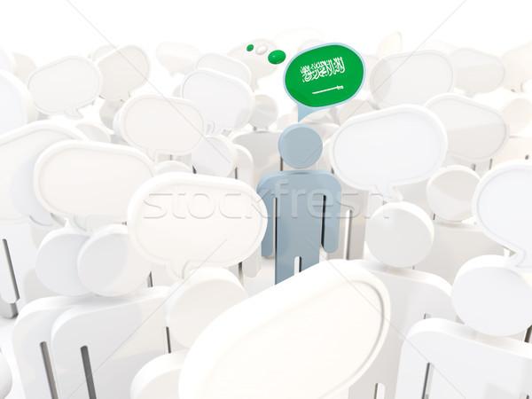 человека флаг Саудовская Аравия толпа 3d иллюстрации знак Сток-фото © MikhailMishchenko