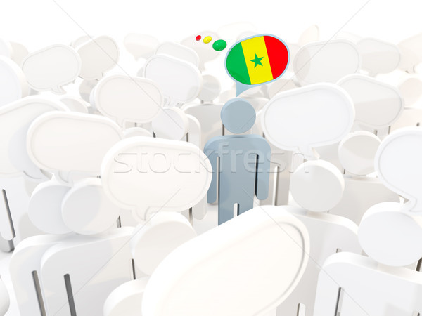 Man with flag of senegal in a crowd Stock photo © MikhailMishchenko