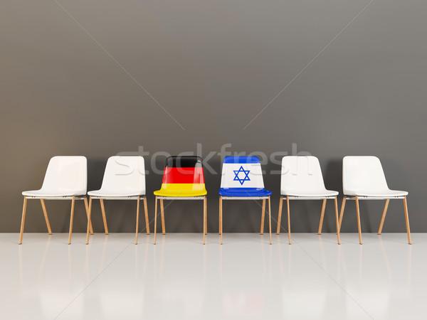 Székek zászló Németország Izrael csetepaté 3d illusztráció Stock fotó © MikhailMishchenko