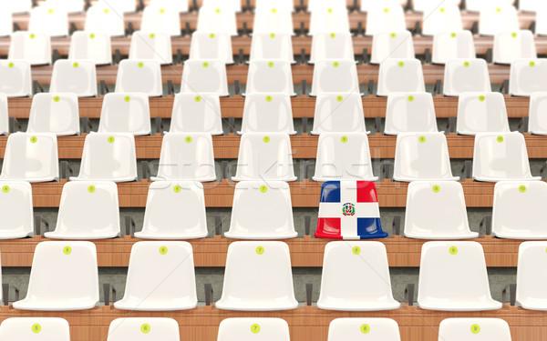 Stade siège pavillon République Dominicaine rangée blanche Photo stock © MikhailMishchenko