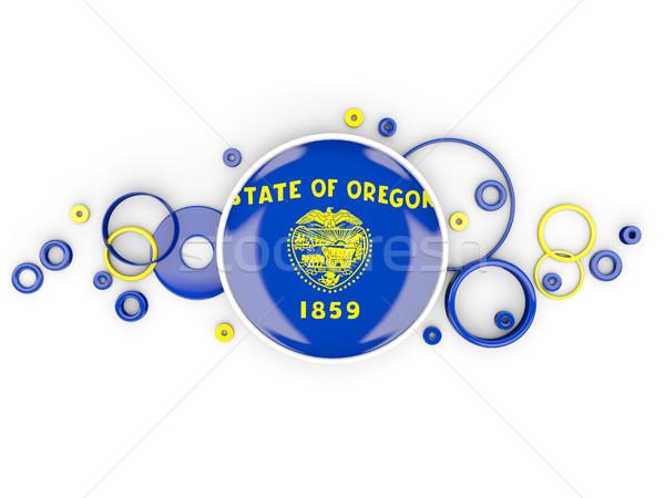 Round flag of oregon with circles pattern. United states local f Stock photo © MikhailMishchenko