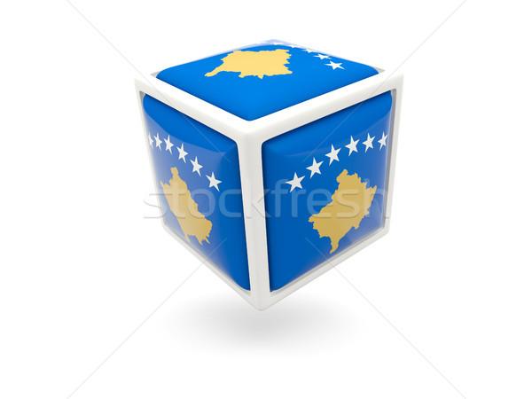 Bandeira Kosovo cubo ícone isolado branco Foto stock © MikhailMishchenko