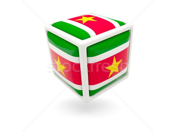 флаг Суринам куб икона изолированный белый Сток-фото © MikhailMishchenko