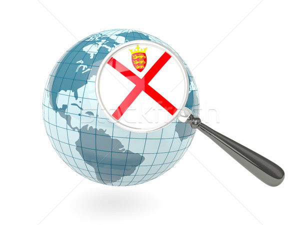 Magnified flag of jersey with blue globe Stock photo © MikhailMishchenko