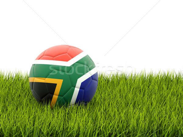 Voetbal vlag South Africa groen gras voetbal veld Stockfoto © MikhailMishchenko