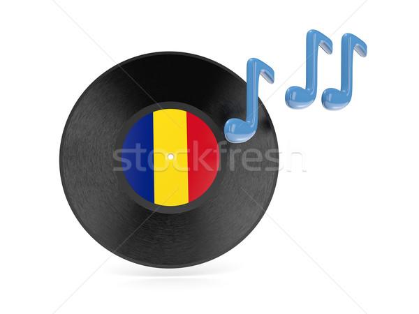 Vinil disk bayrak Romanya yalıtılmış beyaz Stok fotoğraf © MikhailMishchenko