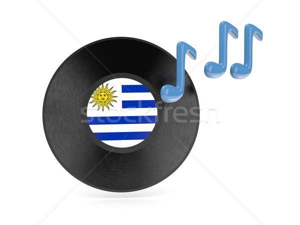 Vinyl schijf vlag Uruguay geïsoleerd witte Stockfoto © MikhailMishchenko