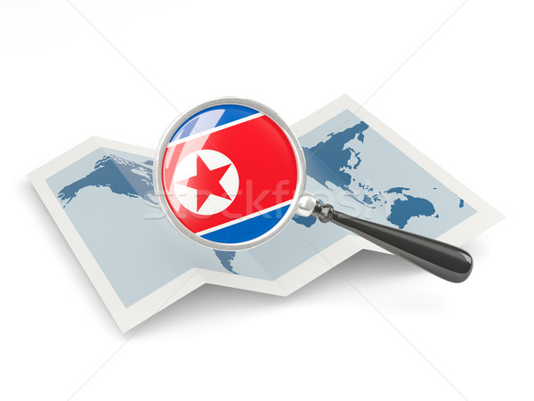 Magnified flag of north korea with map Stock photo © MikhailMishchenko