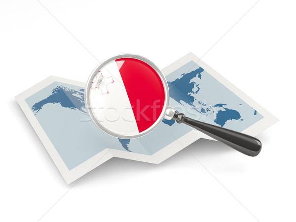 Foto stock: Ampliada · bandera · Malta · mapa · viaje