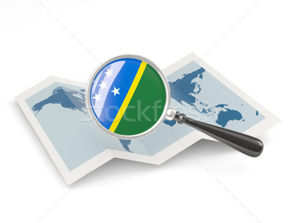 Magnified flag of solomon islands with map Stock photo © MikhailMishchenko
