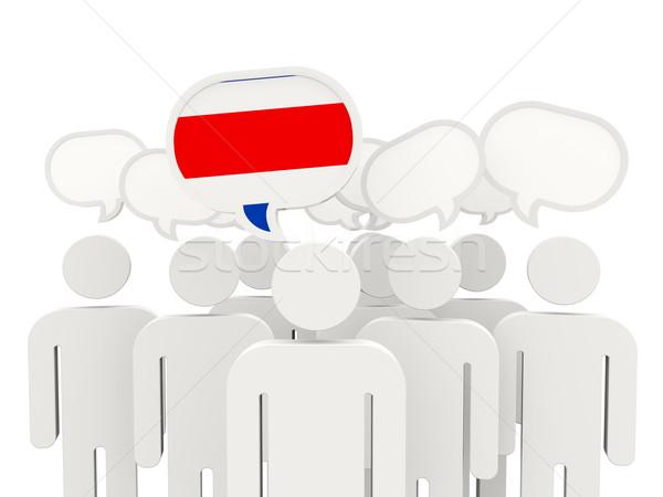 Personas bandera Costa Rica aislado blanco reunión Foto stock © MikhailMishchenko
