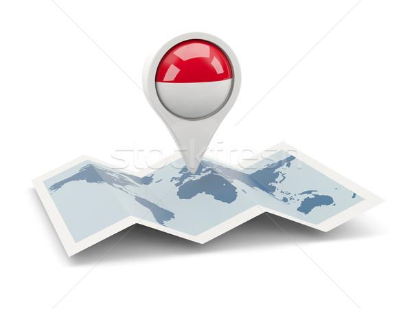 Pin bandeira Indonésia mapa viajar branco Foto stock © MikhailMishchenko