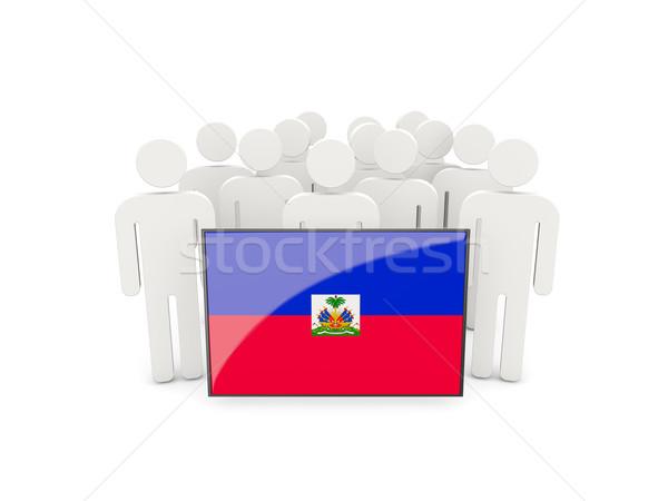 Insanlar bayrak Haiti yalıtılmış beyaz kalabalık Stok fotoğraf © MikhailMishchenko