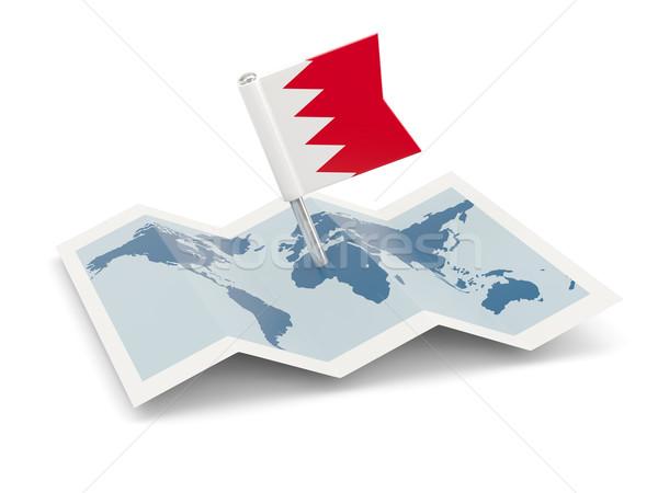Harita bayrak Bahreyn yalıtılmış beyaz Stok fotoğraf © MikhailMishchenko