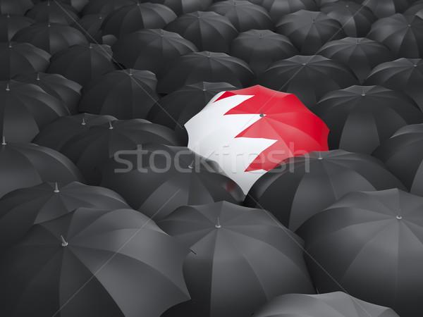 Guarda-chuva bandeira Bahrein preto guarda-chuvas chuva Foto stock © MikhailMishchenko