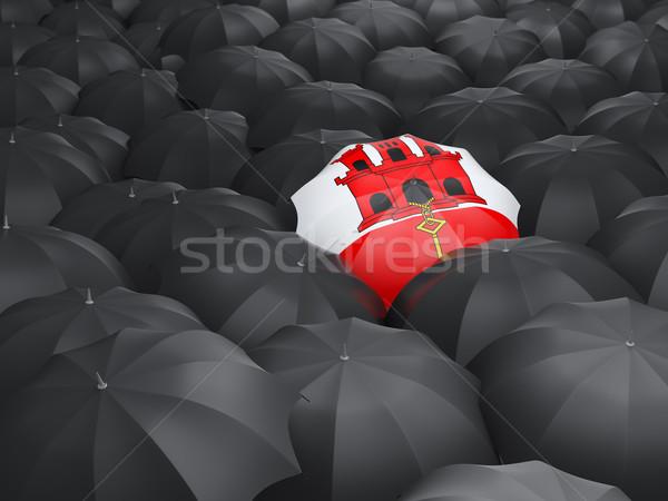 Parasol banderą gibraltar czarny parasole deszcz Zdjęcia stock © MikhailMishchenko