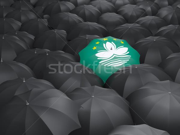 Umbrella with flag of macao Stock photo © MikhailMishchenko