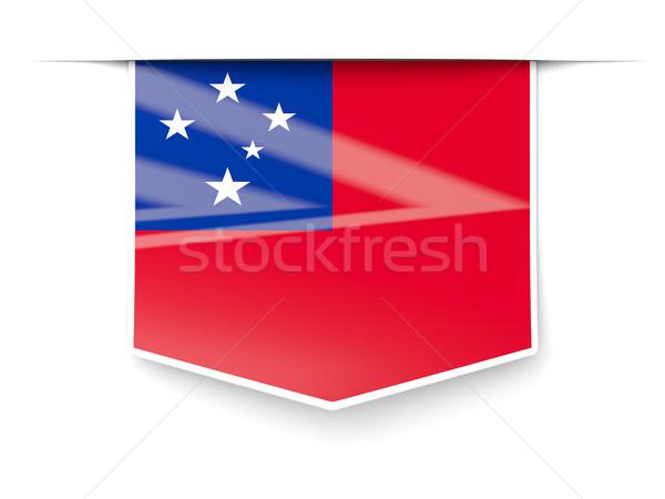 Vierkante label vlag Samoa geïsoleerd witte Stockfoto © MikhailMishchenko
