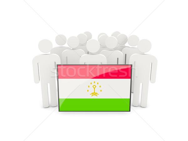 Emberek zászló Tádzsikisztán izolált fehér tömeg Stock fotó © MikhailMishchenko