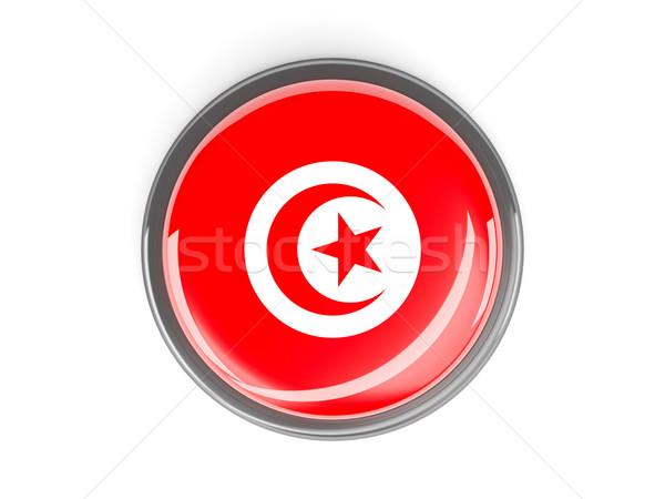 Bouton pavillon Tunisie métal cadre Voyage Photo stock © MikhailMishchenko