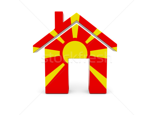 Casa bandera Macedonia aislado blanco búsqueda Foto stock © MikhailMishchenko