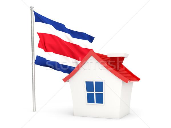Ház zászló Costa Rica izolált fehér otthon Stock fotó © MikhailMishchenko