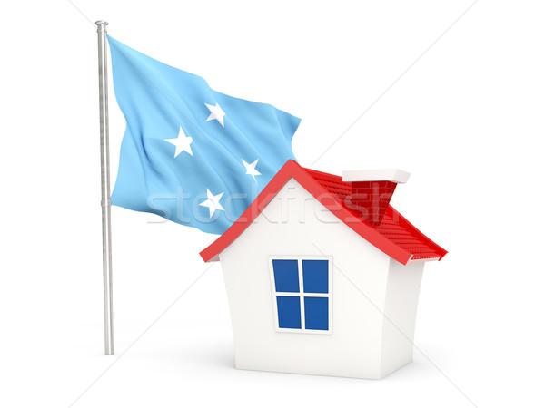 дома флаг Микронезия изолированный белый домой Сток-фото © MikhailMishchenko