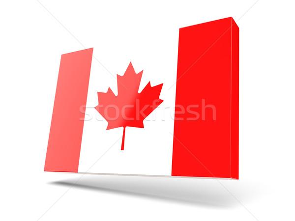 Praça ícone bandeira Canadá isolado branco Foto stock © MikhailMishchenko