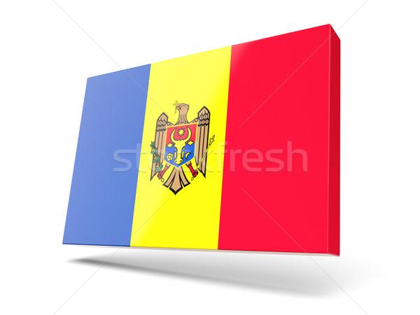 Tér ikon zászló Moldova izolált fehér Stock fotó © MikhailMishchenko